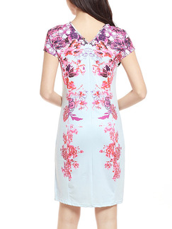 Pink and White Bodycon Above Knee Plus Size Floral Dress for Casual Office Party Evening