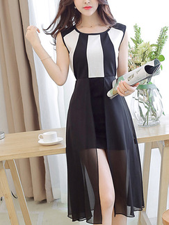 Black and White Fit & Flare Knee Length Plus Size Dress for Casual Office Party Evening