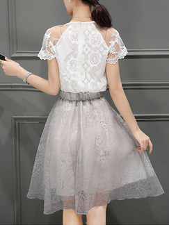 White and Grey Fit & Flare Knee Length Plus Size Lace Dress for Casual Office Evening Party