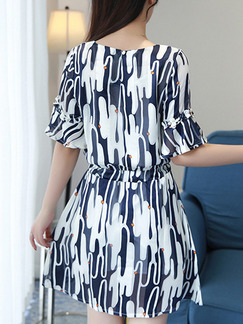 Blue and White Fit & Flare Above Knee Plus Size Dress for Casual Office Evening Party