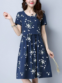 Blue Fit & Flare Knee Length Plus Size Dress for Casual Office Party