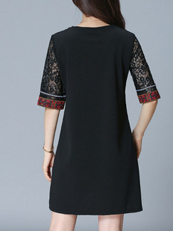 Black Colorful Shift Above Knee Plus Size Lace Dress for Casual Office Evening Party