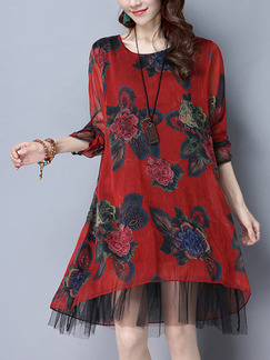Red Colorful Shift Knee Length Plus Size Long Sleeve Floral Dress for Casual Office Evening Party