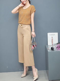 Brown and Apricot Two Piece Shirt Pants Plus Size Jumpsuit for Casual Office Evening