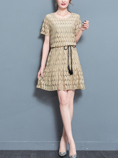 Beige Fit & Flare Above Knee Plus Size  Dress for Casual Office Evening Party