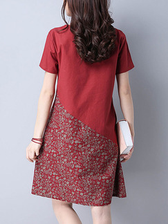 Red Shift Above Knee Plus Size Dress for Casual Office