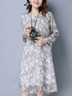 Grey and White Shift Knee Length Plus Size Long Sleeve Dress for Casual Office Party