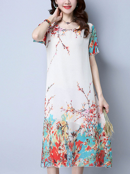 White Colorful Shift Knee Length Plus Size Dress for Casual Office Evening Party