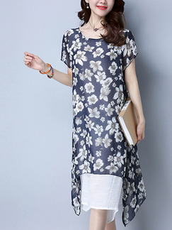 Blue and White Shift Midi Plus Size Floral Dress for Casual Office Beach