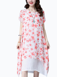 Red and White Shift Midi Plus Size Floral Dress for Casual Office Beach