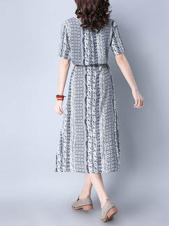 Black and White Shift Midi Plus Size Dress for Casual Office