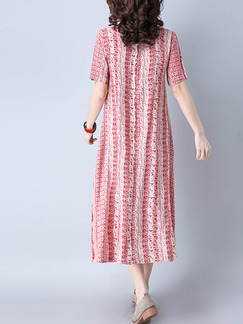 Red and White Shift Midi Plus Size Dress for Casual Office