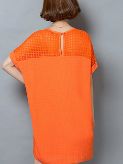 Orange Shift Above Knee Plus Size Dress for Casual Office Evening Party