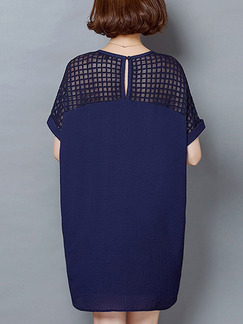 Blue Shift Above Knee Plus Size Dress for Casual Office Evening Party