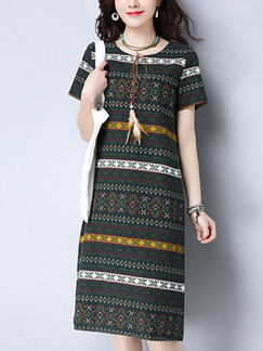 Green Colorful Shift Knee Length Plus Size  Dress for Casual Office Party
