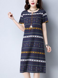 Blue Colorful Shift Knee Length Plus Size Dress for Casual Office Party