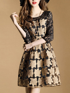 Black and Beige Fit & Flare Above Knee Plus Size Lace Dress for Casual Office Evening Party