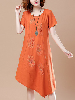 Orange Shift Knee Length Plus Size Dress for Casual Office Party