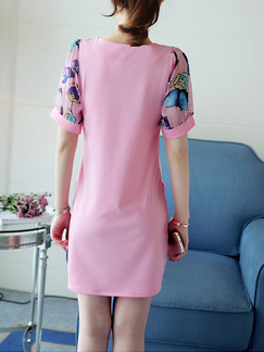Pink Colorful Cute Shift Above Knee Plus Size  Dress for Casual Office Evening Party