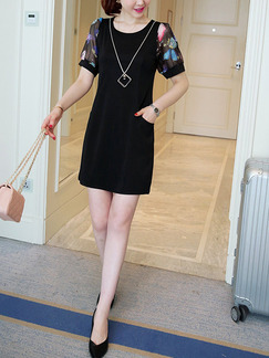 Black Colorful Shift Above Knee Plus Size Dress for Casual Office Evening Party