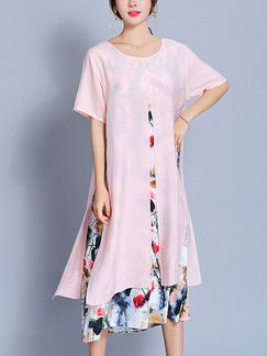 Pink Colorful Shift Midi Plus Size Dress for Casual Office Party