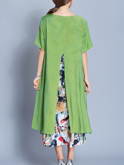Green Colorful Shift Midi Plus Size Dress for Casual Office Party