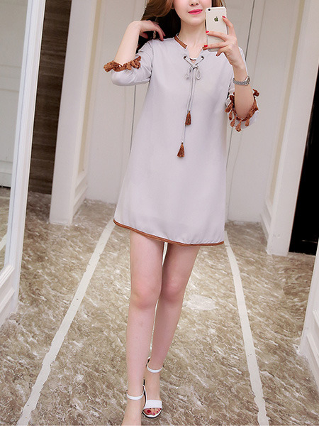 Grey Shift Above Knee Plus Size Dress for Casual Evening Party Nightclub