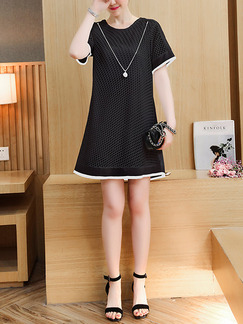 Black Shift Above Knee Plus Size Dress for Casual Party