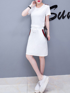 White Shift Above Knee Plus Size Dress for Casual Party