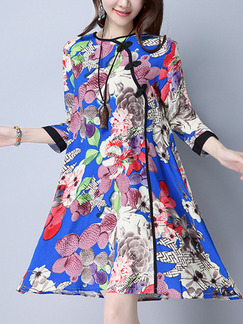 Colorful Shift Above Knee Plus Size Dress for Casual
