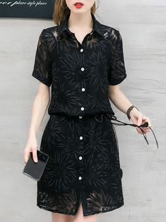 Black Shift Above Knee Plus Size Shirt Dress for Casual Office Party