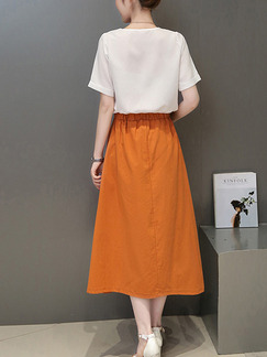 Orange and White Midi Plus Size V Neck Dress for Casual Office Party Evening