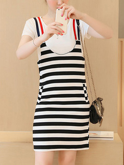 Black and White Stripe Shift Above Knee Slip Plus Size Dress for Casual Office Party
