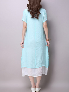 Blue and White Shift Midi Plus Size Dress for Casual