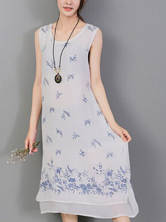 Blue and White Shift Midi Plus Size Dress for Casual Party Beach