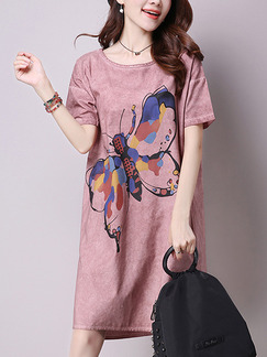 Pink Cute Shift Knee Length Plus Size Dress for Casual