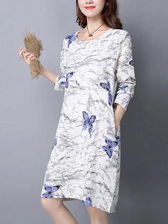 White and Blue Shift Knee Length Plus Size Long Sleeve Dress for Casual Office