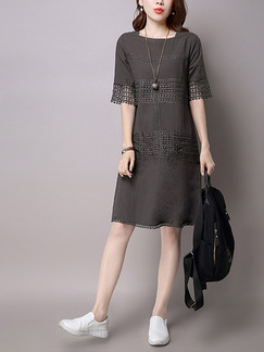 Grey Shift Knee Length Plus Size Dress for Casual Office Party