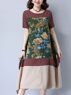 Brown and Green Shift Midi Plus Size Dress for Casual Party