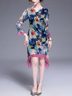 Colorful Shift Above Knee Plus Size Floral Dress for Casual Party Evening