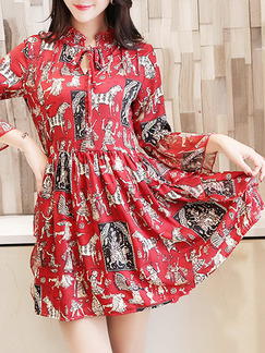 Red Colorful Fit & Flare Above Knee Plus Size Dress for Casual Party