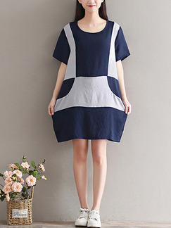 Blue and Grey Shift Above Knee Dress for Casual Party