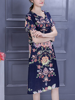 Blue Colorful Shift Knee Length Plus Size Floral Dress for Casual Party
