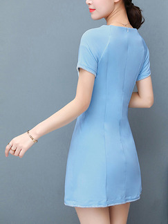 Blue Sheath Above Knee Plus Size Dress for Casual Party Evening