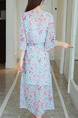 Blue and Pink Shift Midi Plus Size V Neck Floral Dress for Casual Party
