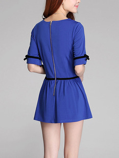 Blue Fit & Flare Above Knee Plus Size Dress for Casual Party Nightclub