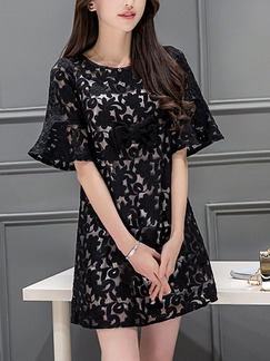 Black Shift Above Knee Plus Size Lace Dress for Casual Office Party Evening