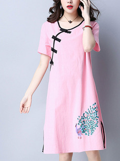 Pink Cute Shift Above Knee Plus Size Dress for Casual Party