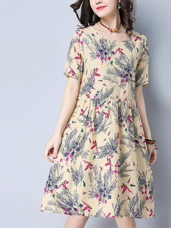 Cream Colorful Shift Knee Length Plus Size Dress for Casual Office Evening