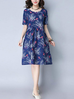 Blue Colorful Shift Knee Length Plus Size Dress for Casual Office Evening